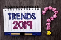 Handwriting text Trends 2019. Concept meaning Current Movement Latest Branding New Concept Prediction written on Notebook Book on. Handwriting text Trends 2019 royalty free stock image