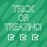 Handwriting text Trick Or Treating. Concept meaning take part in the custom of trick or treat halloween party Geometric royalty free illustration