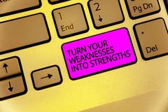 Handwriting text Turn Your Weaknesses Into Strengths. Concept meaning work on your defects to get raid of them Keyboard purple key. Intention create computer royalty free stock image