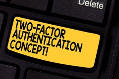 Handwriting text Two Factor Authentication Concept. Concept meaning two ways of proving your identity Keyboard key. Intention to create computer message royalty free stock photos