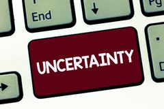 Handwriting text Uncertainty. Concept meaning State of being uncertain doubt difficult to make a choice stock images