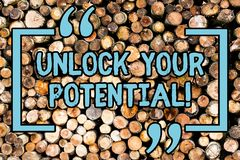 Handwriting text Unlock Your Potential. Concept meaning release possibilities Education and training is key Wooden. Handwriting text Unlock Your Potential stock images