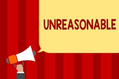 Handwriting text Unreasonable. Concept meaning Beyond the limits of acceptability or fairness Inappropriate Man holding megaphone. Loudspeaker speech bubble royalty free illustration