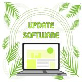 Handwriting text Update Software. Concept meaning replacing program with a newer version of same product Open Modern. Handwriting text Update Software stock illustration