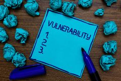 Handwriting text Vulnerability. Concept meaning Information susceptibility systems bug exploitation attacker Cyan paper imaginatio. N idea thoughts mistakes stock photography