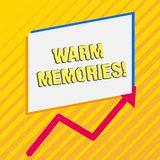 Handwriting text Warm Memories. Concept meaning Something that you remember with pleasure Sweet reminiscences Irregular. Handwriting text Warm Memories stock illustration