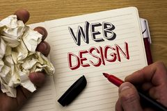 Handwriting text Web Design. Concept meaning Web Layout Template Responsive Webpage Webdesign Sketch Navigation written by Man on. Handwriting text Web Design Stock Images