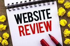 Handwriting text Website Review. Concept meaning Homepage Evaluation Customer Opinion Satisfaction Ranking written on Notebook Boo. Handwriting text Website royalty free stock photography