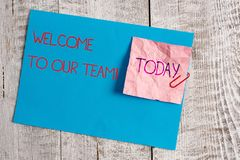 Handwriting text Welcome To Our Team. Concept meaning introducing another demonstrating to your team mates Wrinkle paper. Handwriting text Welcome To Our Team stock photos