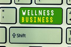 Handwriting text Wellness Business. Concept meaning Professional venture focusing the health of mind and body.  royalty free stock image