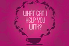 Handwriting text What Can I Help You Withquestion. Concept meaning Offering support assistance guidance Cup and Saucer. With Paisley Design as Steam icon on stock illustration