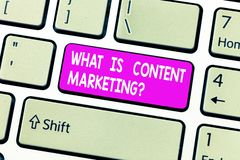 Handwriting text What Is Content Marketing. Concept meaning Advertising and business promotion strategies Keyboard key. Intention to create computer message stock photos