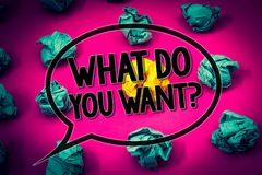 Handwriting text What Do You Want Question. Concept meaning Aspiration Contemplation Need Contemplate Aspire Huge emerald paper lo. Bs surroundes yellow paper Royalty Free Stock Images