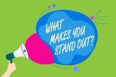 Handwriting text What Makes You Stand Out question. Concept meaning asking someone about his qualities Man holding Megaphone louds. Peaker screaming talk Royalty Free Stock Images