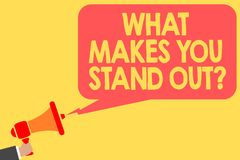 Handwriting text What Makes You Stand Out question. Concept meaning asking someone about his qualities Man holding megaphone louds. Peaker speech bubble message royalty free stock images