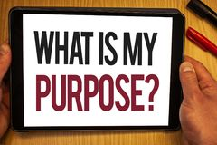 Handwriting text What Is My Purpose Question. Concept meaning Direction Importance Discernment Reflection Hand hold showing colorf. Ul letters black marker red royalty free stock images