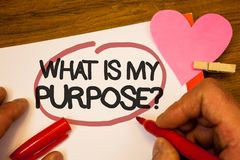 Handwriting text What Is My Purpose Question. Concept meaning Direction Importance Discernment Reflection Human hand retain red pe. N circled black words paper royalty free stock photo