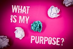 Handwriting text What Is My Purpose Question. Concept meaning Direction Importance Discernment Reflection Light pink floor circled. Shadow ruffled white paper royalty free stock photo