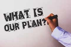 Handwriting text What Is Our Plan Question. Concept meaning Mission Purpose Agenda Strategize Brainstorming Advisors hand holding. Black marker whiteboard royalty free illustration
