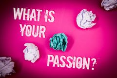 Handwriting text What 'S Your Passion Question. Concept meaning asking someone about his dreams and hopes Light pink floor circled. Shadow ruffled white paper stock image