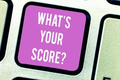 Handwriting text What S Is Your Scorequestion. Concept meaning asking about the real facts of a situation Keyboard key. Intention to create computer message royalty free stock image