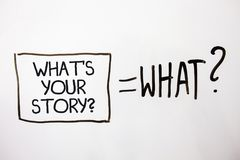 Handwriting text What'S Your Story Question. Concept meaning asking someone to tell me about himself White shadow messages ask eq. Uations memories thought idea royalty free stock photos