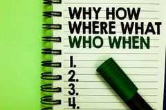 Handwriting text Why How Where What Who When. Concept meaning Questions to find solutions Query Asking Written letters. And numbers on notepad laid green marker royalty free stock photography