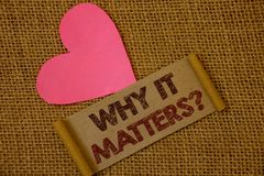 Handwriting text Why It Matters Question. Concept meaning Important Reasons to do something Motivation Goal Ideas on old vintage p. Aper black red letters wicker Stock Images