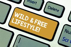 Handwriting text Wild And Free Lifestyle. Concept meaning Freedom natural way of living outdoor activities Keyboard key. Intention to create computer message stock photos