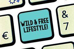Handwriting text Wild And Free Lifestyle. Concept meaning Freedom natural way of living outdoor activities Keyboard key. Intention to create computer message stock image