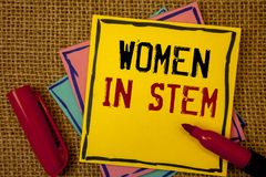 Handwriting text Women In Stem. Concept meaning Science Technology Engineering Mathematics Scientist Research royalty free stock image