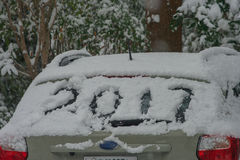Handwriting text word `2017` on a car. stock photography