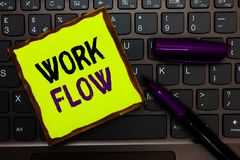 Handwriting text Work Flow. Concept meaning Continuity of a certain task to and from an office or employer Yellow paper keyboard I. Nspiration communicate ideas royalty free stock photos