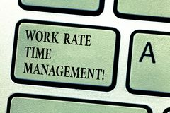 Handwriting text Work Rate Time Management. Concept meaning Managing schedules and work planning schemes Keyboard key. Intention to create computer message royalty free stock photo
