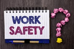 Handwriting text Work Safety. Concept meaning Caution Security Regulations Protection Assurance Safeness written on Notebook Book. Handwriting text Work Safety Stock Images