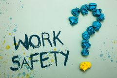 Handwriting text Work Safety. Concept meaning Policies and control in place according to government standard Crumpled papers formi. Ng question mark several stock images