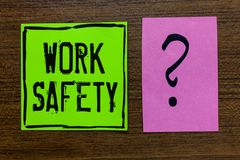 Handwriting text Work Safety. Concept meaning Policies and control in place according to government standard Green paper note Impo. Rtant reminder pink question royalty free stock image