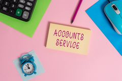 Handwriting text writing Accounts Service. Concept meaning accessing list of user profiles and information linked Mouse. Handwriting text writing Accounts royalty free stock image