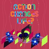 Handwriting text writing Action Changes Things. Concept meaning overcoming adversity by taking action on challenges. Colorful Instrument Maracas Handmade stock illustration