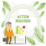 Handwriting text writing Action Required. Concept meaning Regard an action from someone by virtue of their position. Handwriting text writing Action Required stock illustration