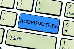 Handwriting text writing Acupuncture. Concept meaning Alternative therapy Treatment for pain and illness using needle royalty free stock photography
