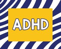 Handwriting text writing Adhd. Concept meaning Mental health disorder of children Hyperactive Trouble paying attention.  royalty free illustration
