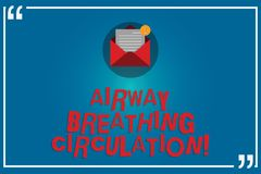 Handwriting text writing Airway Breathing Circulation. Concept meaning Memory aid for rescuers performing CPR Open. Envelope with Paper New Email Message inside stock illustration