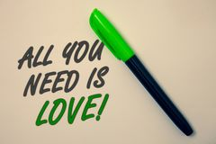 Handwriting text writing All You Need Is Love Motivational. Concept meaning Deep affection needs appreciation romance Ideas messag. E beige background green pen Stock Image