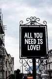 Handwriting text writing All You Need Is Love Motivational. Concept meaning Deep affection needs appreciation romance Vintage blac. K board white letters words Stock Photography