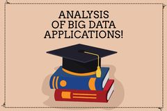 Handwriting text writing Analysis Of Big Data Applications. Concept meaning Information technologies modern apps Color. Graduation Hat with Tassel 3D Academic royalty free illustration