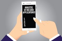 Handwriting text writing Analysis Of Big Data Applications. Concept meaning Information technologies modern apps Hu analysis Hands. Holding Pointing Touching royalty free illustration