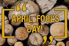 Handwriting text writing April Fool S Is Day. Concept meaning fixed date that has occasion for playing tricks Wooden stock photo