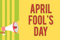Handwriting text writing April Fool s is Day. Concept meaning Practical jokes humor pranks Celebration funny foolish Multiple line. S script message idea declare Vector Illustration