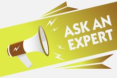 Handwriting text writing Ask An Expert. Concept meaning Superior Reliable Ace Virtuoso Curiosity Authority Geek. Megaphone loudspeaker speech bubble important royalty free illustration